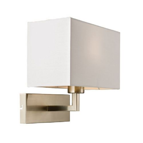 Satin nickel effect plate & white tc fabric Wall Light 61604 by Endon
